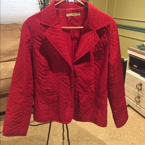 Requirements red snap front quilted jacket